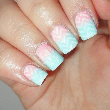 Chevron Love nail art by Melany Antelo