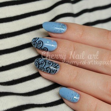 Vagues a l'encre nail art by Cherry Nail art