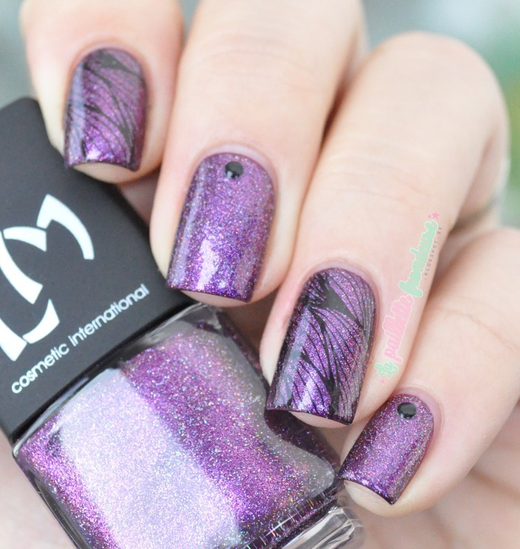 purple feather nail art by nathalie lapaillettefrondeuse