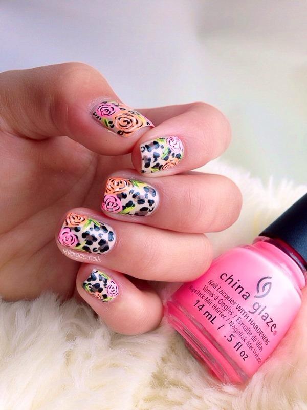 Cheetah + roses nail art by Massiel Pena
