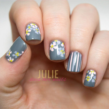 Pastel Flowers on Grey nail art by Julie