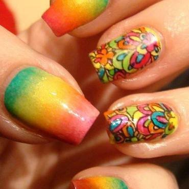 Colourfull stamping decals nail art by Pretty Nails by Kasia