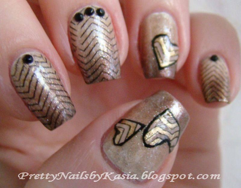 Chevron hearts nail art by Pretty Nails by Kasia