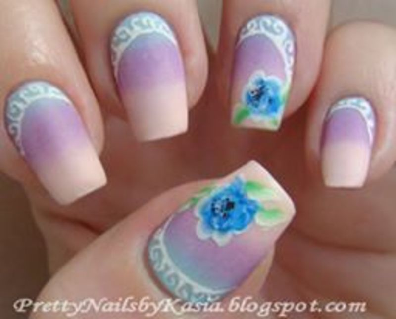 My first one-stroke flowers :) nail art by Pretty Nails by Kasia