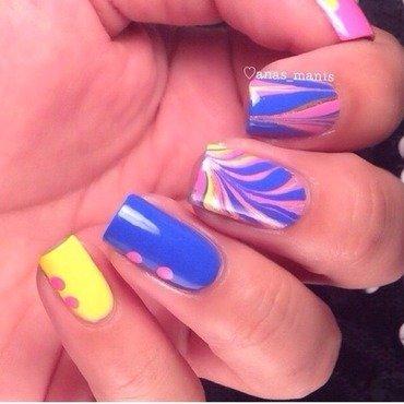 Vertical stripe watermarble  nail art by anas_manis