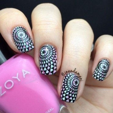 Watermarble & Stamping nail art by Carmen Ineedamani