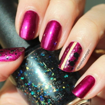 Metallic violet with glitter accent nail art by Polished Polyglot