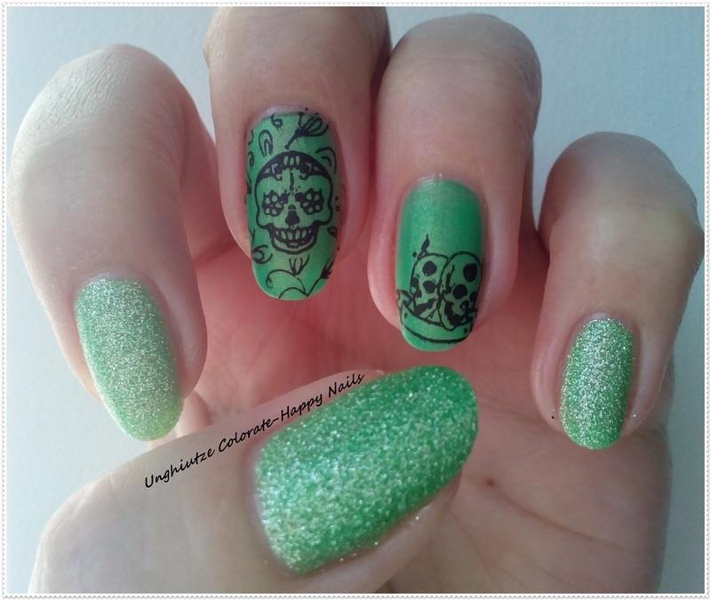 Green skull nail art by Oana  Alexandru