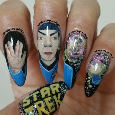 A tribute to Leonard Nimoy A.K.A Spock from Star Trek nail art by Milly Palma