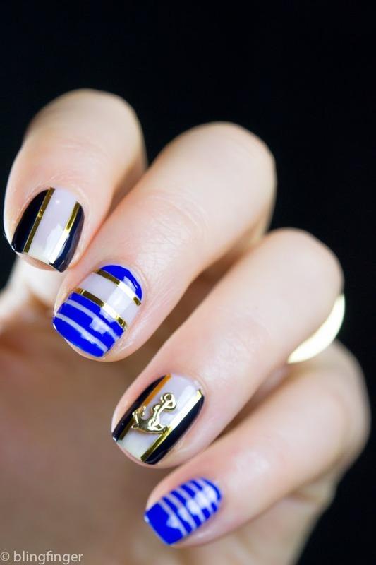 Nautical Nails nail art by  Petra  - Blingfinger