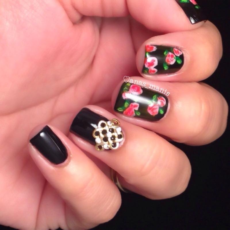 Roses nail art by anas_manis