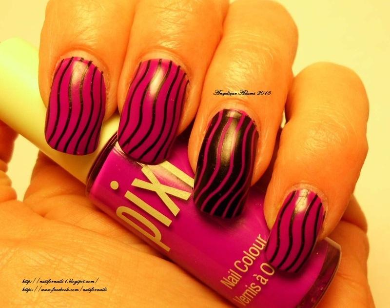 Wavy Lines  nail art by Angelique Adams