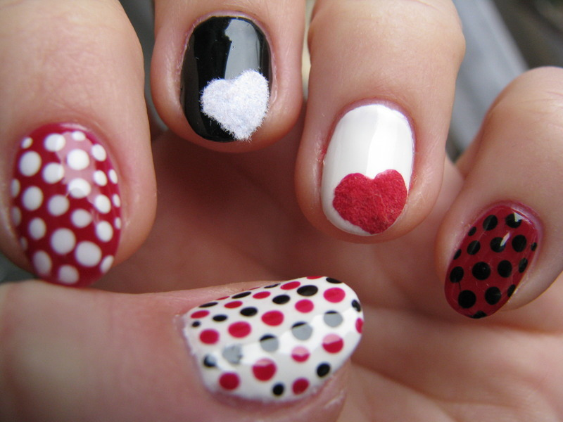 Fluffy hearts nail art by Nail Crazinesss
