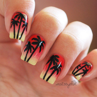 Sunset Palm Trees nail art by xNailsByMiri