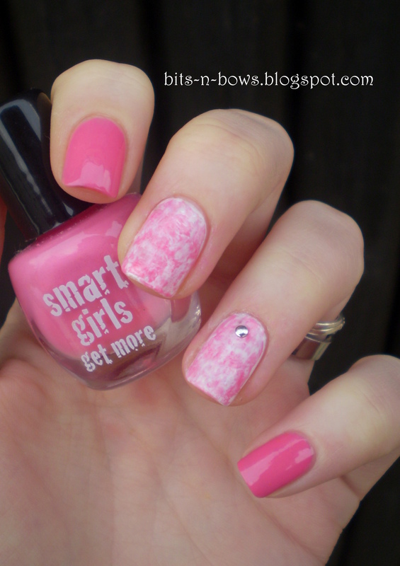 Saran Wrap Manicure nail art by Kristina
