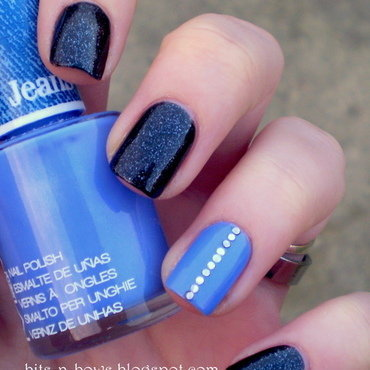 Black & Blue nail art by Kristina