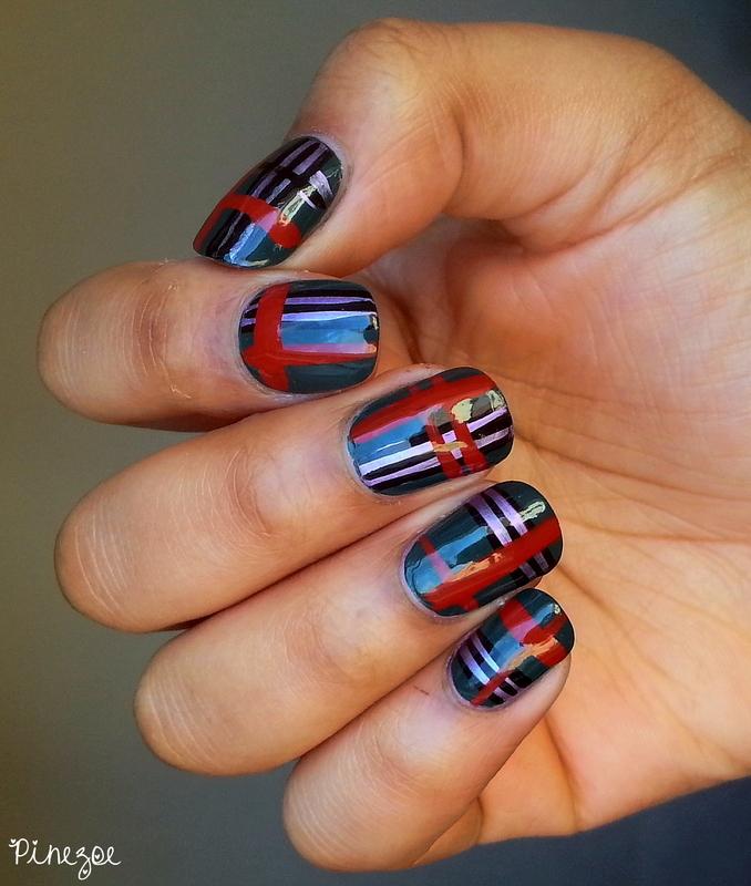Tartan nail art by Pinezoe
