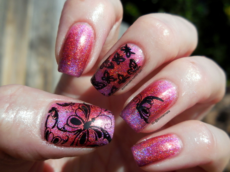 Holo Butterflies nail art by Donner