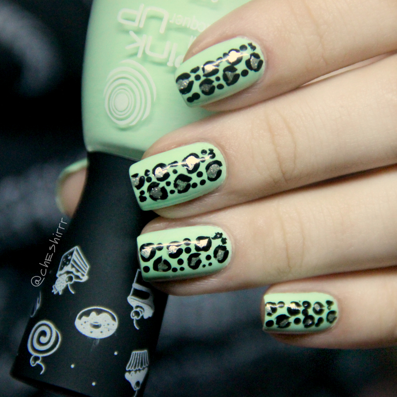 green leopard nail art by cheshirrr