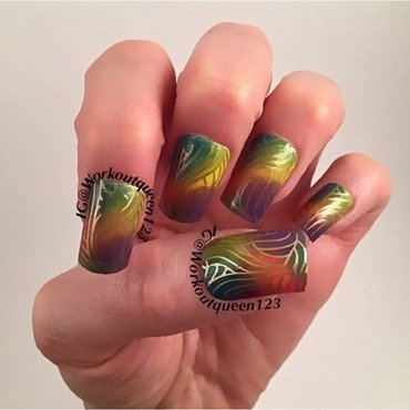 Rainbow nail art by Workoutqueen123