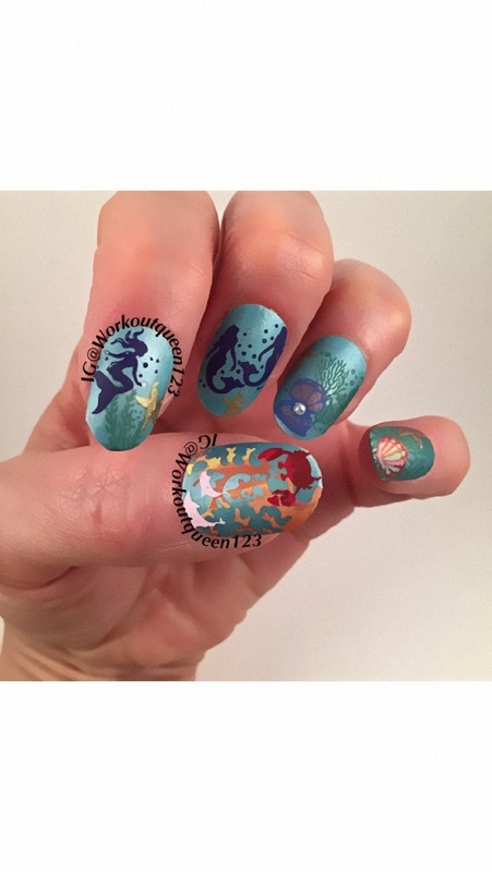 Little Mermaid nail art by Workoutqueen123