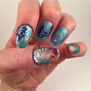 Little Mermaid nail art by Workoutqueen123