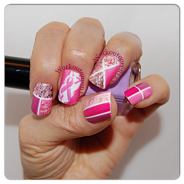 Pink Ribbon nail art by Workoutqueen123