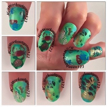 Pond Mani under the sea little mermaid nail art by Workoutqueen123