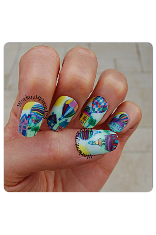 UP UP and away nail art by Workoutqueen123