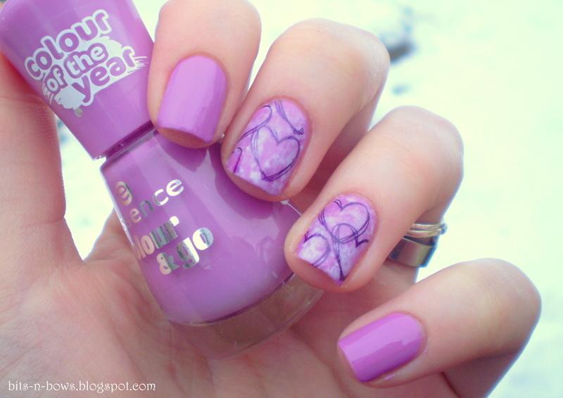 Purple Hearts nail art by Kristina