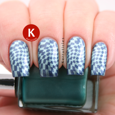 Blue and green geometric stamping nail art by Claire Kerr