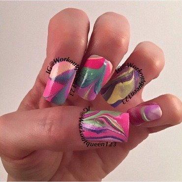 Spring water marble nail art by Workoutqueen123