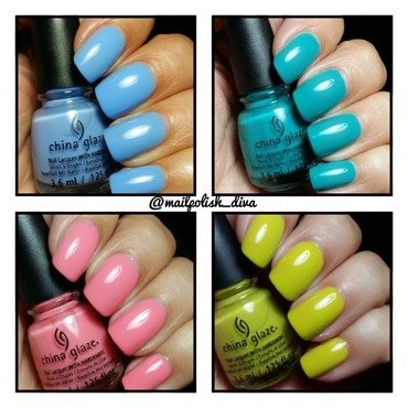 China Glaze Boho Blues and China Glaze Road Trip Collection Trip Of A Lime Time Swatch by Marilyn