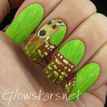 The Digit-al Dozen Does Nature: Deer nail art by Vic 'Glowstars' Pires
