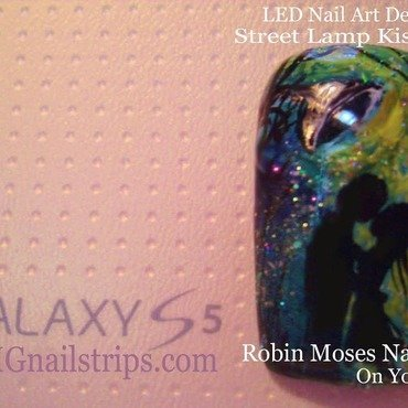 Street Lamp Nail Art Using OMG LED Nail Decals  nail art by OMGnailstrips