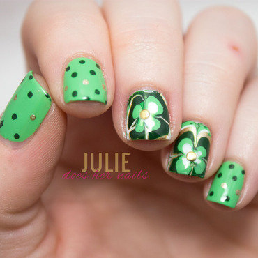 St. Paddy's Day Water Marble Shamrocks nail art by Julie