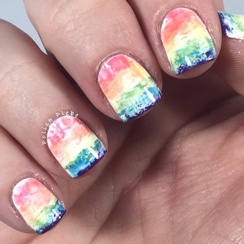 Dry Drag Rainbow nail art by Crystal Bond