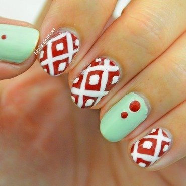 Red and Mint nail art by NailsContext