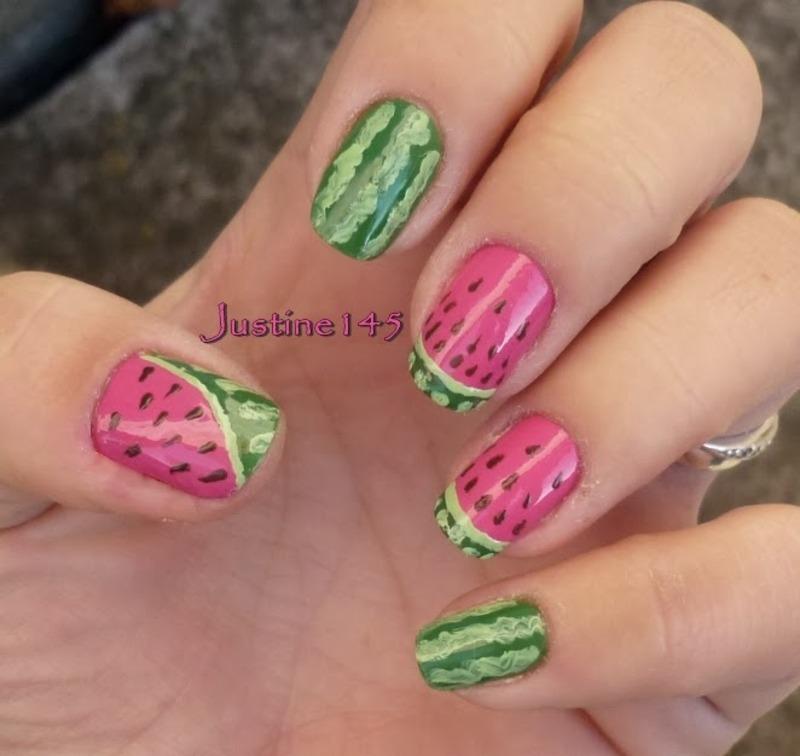 watermelon nail art by Justine145