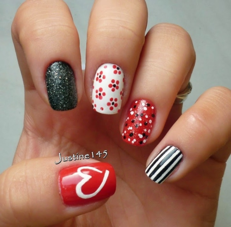 red mix n match nail art by Justine145