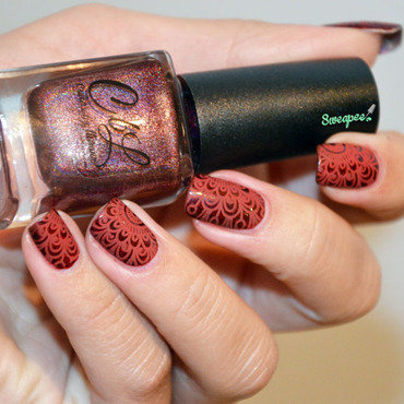 Stamping red mat  nail art by Sweapee