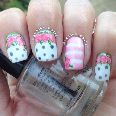 Another flower mani  nail art by Sarah Bellwood