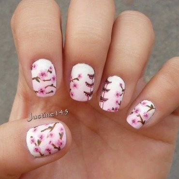 cherry blossom nail art by Justine145