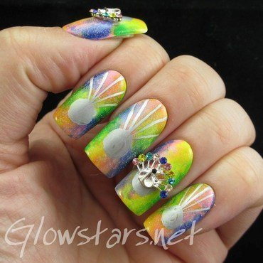 The Digit-al Dozen does nature: peacocks nail art by Vic 'Glowstars' Pires