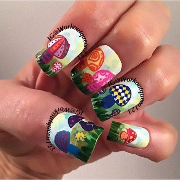 Mushroom mani nail art by Workoutqueen123