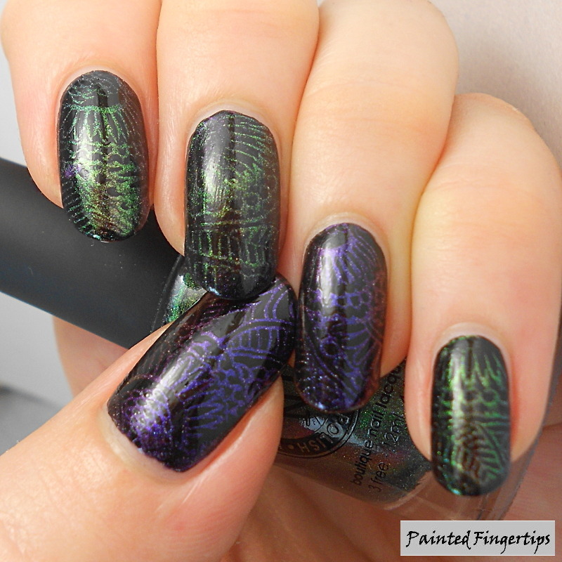 Multichrome stamping nail art by Kerry_Fingertips
