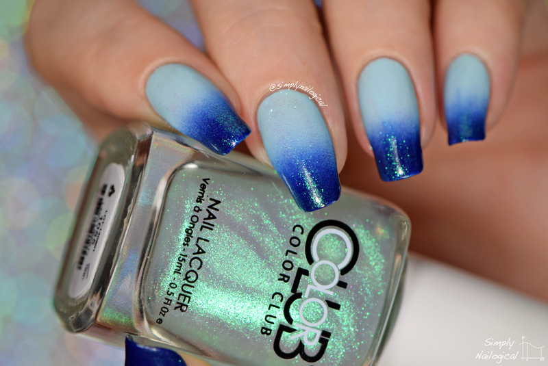 Simple icy blue gradient nail art by simplynailogical