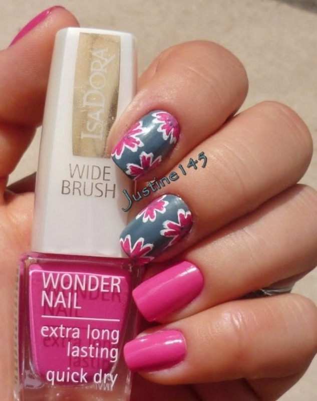 tropical flowers nail art by Justine145