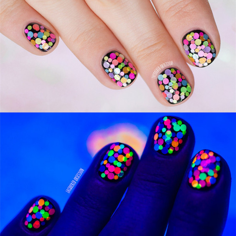 Fantastic Neon Glitter Nails  nail art by Born Pretty