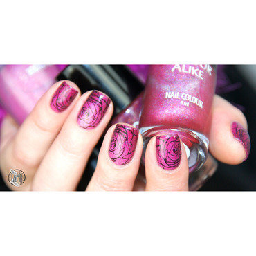 Rose stamping nails nail art by Paulina